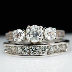 1.38 cttw Three Stone Diamond Engagement Ring by JamieKatesJewelry, $1700.00