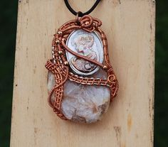 Carved Mother of Pearl Shell Cameo Semicrystalline Agate Wire Wrap Necklace #Handmade #Pendant