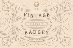 Vintage Line Badges by Viaction Type.Co on @creativemarket