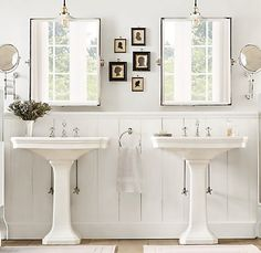 His and Her Pedestal Sinks, Cottage, bathroom, Restoration Hardware Bathroom Renos, Small Bathroom, Master Bathroom, White Bathroom, Classic Bathroom, Bathroom Bath, Design Bathroom, Bathrooms With Pedestal Sinks, Bathroom Ideas