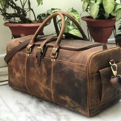 24 Inch Hunter Brown Genuine Leather Weekend Bag, Leather Duffle Bag For Men, Travel bag, Weekender Leather Duffle Bag, Leather Satchel, Calf Leather, Leather Bags, Duffle Bags, Leather Wallets, Hunter Brown, Mens Travel Bag, Travel Bags