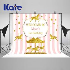 Pink and Gold Carousel Banner Photography Backdrops Baby