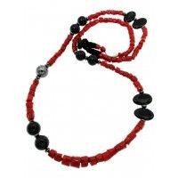 Collana in corallo rosso indonesiano, ematite e agata nera