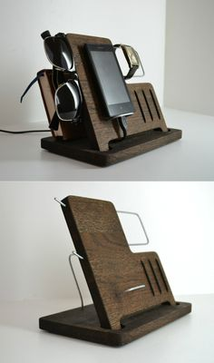 Charging Station,Wooden Desk Organizer,Wood iPhone Stand,Universal Wood Docking Station for iPhone,Gifts For Men Who Have Everything