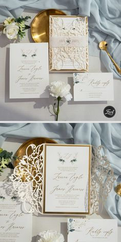 Elegant ivory and green leaves laser cut wedding invitation with shimmer gold details #lasercutweddinginvitations #weddinginvitations #ewi