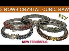 3 rows of crystal cubic raw bracelet Beaded Bracelets Tutorial, Seed Bead Bracelets, Healing Bracelets, Beaded Jewelry Patterns, Colorful Bracelets, Beading Tutorials, Metal Beads, Fashion Bracelets, Creations