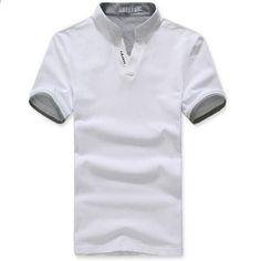 Klassisk T-shirt för fast färg Klassisk T-shirt herr Mäns kortärmad tröja  plus storlek 603e0d79d5d49