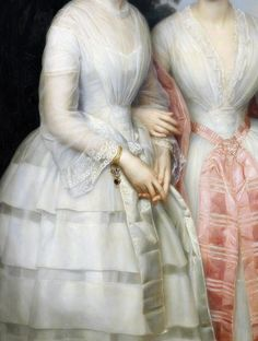 marieantoinettesplayhouse:  sadnessdollart:  Portrait of sisters Malvina Ann Louise and Hilda Sophie Charlotte Reventlow in the forest, Detail. by August Heinrich Schiott (1823-1895)