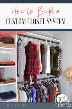 Want to organize that walk-in closet finally? Here's how to build a custom closet system that you'll love. This basic woodworking project isn't as hard as you'd think!  #woodworking #diy #closets #closet #walkin