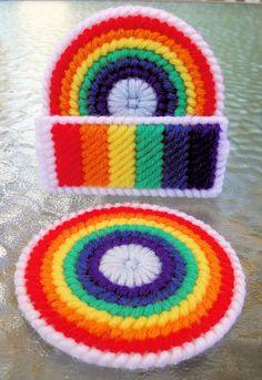 Rainbow Coasters_Plastic Canvas