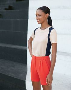 J.Crew colorblock crepe top and the pleated crepe short---these shorts are amazing!!!