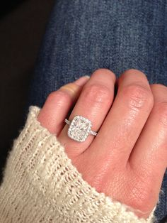 Perfection. Radiant cut engagement ring. Halo cushion setting. ❤️