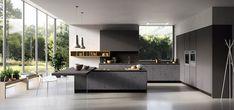 image de cuisine moderne de design italien avec armoires noires mates et accent jaune