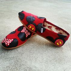 ADULT RED - Patterned Minnie and Mickey Mouse Disney shoes perfect for your Summer Trip to Disneyland