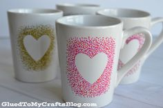 painted sweetheart mugs DIY Sweetheart Mugs Diy Crafts For Adults, Easy Diy Crafts, Crafts To Sell, Painting Glass Jars, Diy Painting, Ceramic Painting, Painted Coffee Mugs, Hand Painted Mugs, Sharpie Paint Pens