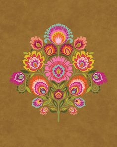 Wycinanki Giclee Folk Art Print Imagine Harvest Colors by Groovity