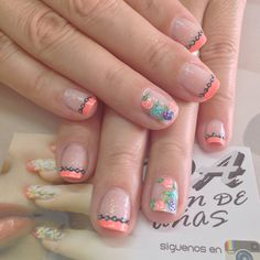 Uñas Watermelon Nails, Spring Nails, Pedi, Acrylics, Manicure, Spa, Nail Art, Finger Nails, Gold Nails