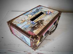 ( Vendue ) Valise - urne de mariage thème Voyage