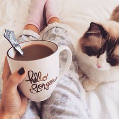 Cozy, with a cat & coffee & socks // Sunday Vibes :: Chill :: Rest + Relax :: Sunrise Dreaming :: Peace + Tranquility :: See more Untamed Sunday Inspiration Coffee Break, My Coffee, Morning Coffee, Coffee Mugs, Coffee Cat, Starbucks Coffee, Coffee Lovers, Morning Bed, Saturday Morning