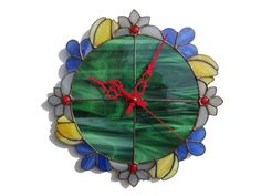 Wall Clock Summer Flower Wreath in red, green, yellow and gray colors - Unique Stained Glass Wall Decor - Boho Wall art with floral design by ZangerGlass on Etsy https://www.etsy.com/listing/196212166/wall-clock-summer-flower-wreath-in-red