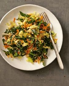 You Have Meals Poisoning More Normally Than You're Thinking That Quinoa Salad With Kale And Napa Cabbage Martha Stewart - A Citrusy Ginger-Sesame Dressing Enlivens This Grain-And-Greens Salad. Napa Cabbage Recipes, Kale Salad Recipes, Kale Salads, Vegetarian Cabbage, Vegetarian Recipes, Healthy Recipes, Hcg Recipes, Lunch Recipes, Asian Recipes