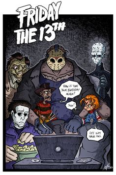 Happy Birthday you special, special boy ! Friday the Horror Movies Funny, Scary Movies, Friday The 13th Funny, Scary Movie Characters, Slasher Movies, Horror Artwork, Horror Icons, Halloween Horror, Jason Voorhees