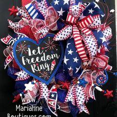 Flag Wreath, Patriotic Wreath, Patriotic Decorations, Heart Wreath, Fourth Of July Decor, July 4th, 4th Of July Wreaths, Deco Wreaths, Wreaths And Garlands