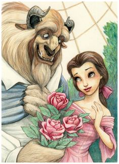 Disney Colouring Page - Beauty and the Beast by NadezhdaVasile.deviantart.com on @deviantART - Amazing coloured version of a pre-existing lineart