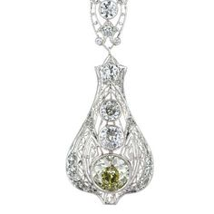 Elegant Edwardian Diamond Lavalier | From a unique collection of vintage more necklaces at https://www.1stdibs.com/jewelry/necklaces/more-necklaces/