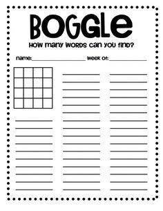 Boggle sheet-- I like this one because you can use it as an activity for early finishers throughout the week.