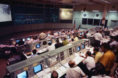NASA's Mission Control in Houston, Texas, as seen in 1969 during the Apollo 11 first moon landing mission.