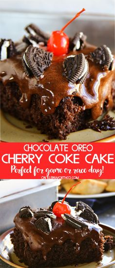 Chocolate Oreo Cherry Coke Cake is perfect for all your fall adventures like game day tailgating. This easy to make chocolate cake recipe is a crowd pleaser. via @KleinworthCo
