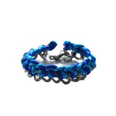 two toned cord bracelet in blue - chunky woven chain bracelet with braided satin threads. €21,90, via Etsy.