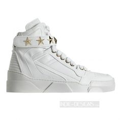 d5b0348e5cdb Authentic Givenchy White Leather Star-Embellished Optic Mid-Top Sneakers