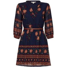 Yumi Floral Belted Tunic Dress ($65) ❤ liked on Polyvore featuring dresses, women dresses, floral printed dress, flower printed dress, floral print dress, floral day dress and blue dress