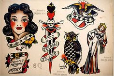 designed by sailor jerry, tattoo flash
