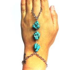 Turquoise Nugget Hand Bracelet by Lush Jewelry $46 www.shopcitrine.com