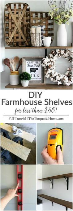 These simple DIY farmhouse shelves are easy to install and cost less than $40! They are perfect for adding some fun decor to the kitchen and I can't wait to change them out each season. | DIY Farmhouse Shelves | http://TheTurquoiseHome.com