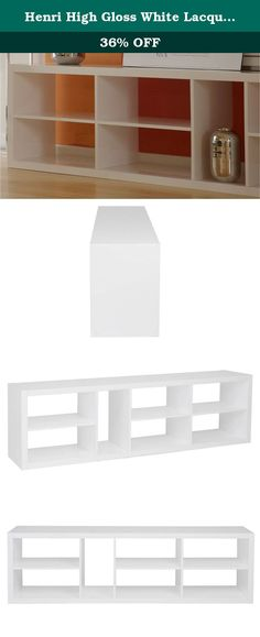 Henri High Gloss White Lacquer Shelving Unit or TV Stand. You'll never run out of storage possibilities when you add the Henri TV Stand to your living room or office. This rectangular TV stand features multiples open-backed and symmetrical shelves which facilitate easy pass-through of cords. Coated in sleek gloss lacquer and doubles as a modern bookshelf when you turn it upright.