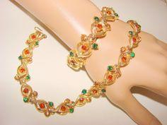 Vintage Coro MultiColor Demi Parure Necklace & by joysshop on Etsy, $32.95