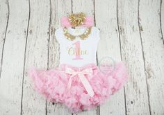 girl first birthday outfit gold and pink pink by PoshPeanutKids