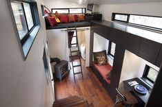 This tiny house, called hOMe only cost $33,000 to build and has loads of cool features and creature comforts. #tiny_house #tiny_home #small_home #mobile_home #small_spaces