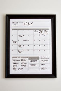 Calendar  Family Planner Dry Erase Calendar Wall by BlissNotions, $16.00