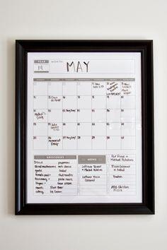 Calendar  Family Planner Dry Erase Calendar Wall by BlissNotions, $16.00