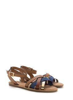 Strappy Day Mixed Denim Sandals BLUE