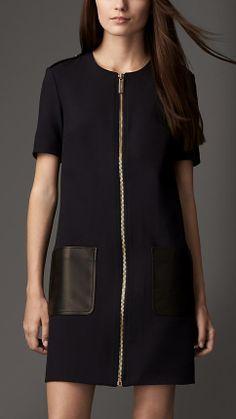 Burberry Leather Pocket Zipped Shift Dress on shopstyle.co.uk