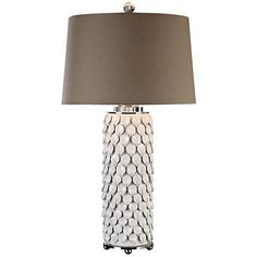 Uttermost Calla Lilies Gloss White Ceramic Table Lamp