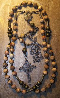 Catholic Rosary Beads | Landscape Jasper Antiqued Bronze Catholic Rosary Beads | JMBJEWELS ...