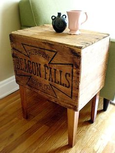 DIY side table - this would be so easy with an antique crate.