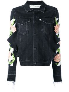 OFF-WHITE Floral Embroidered Denim Jacket. #off-white #cloth #jacket